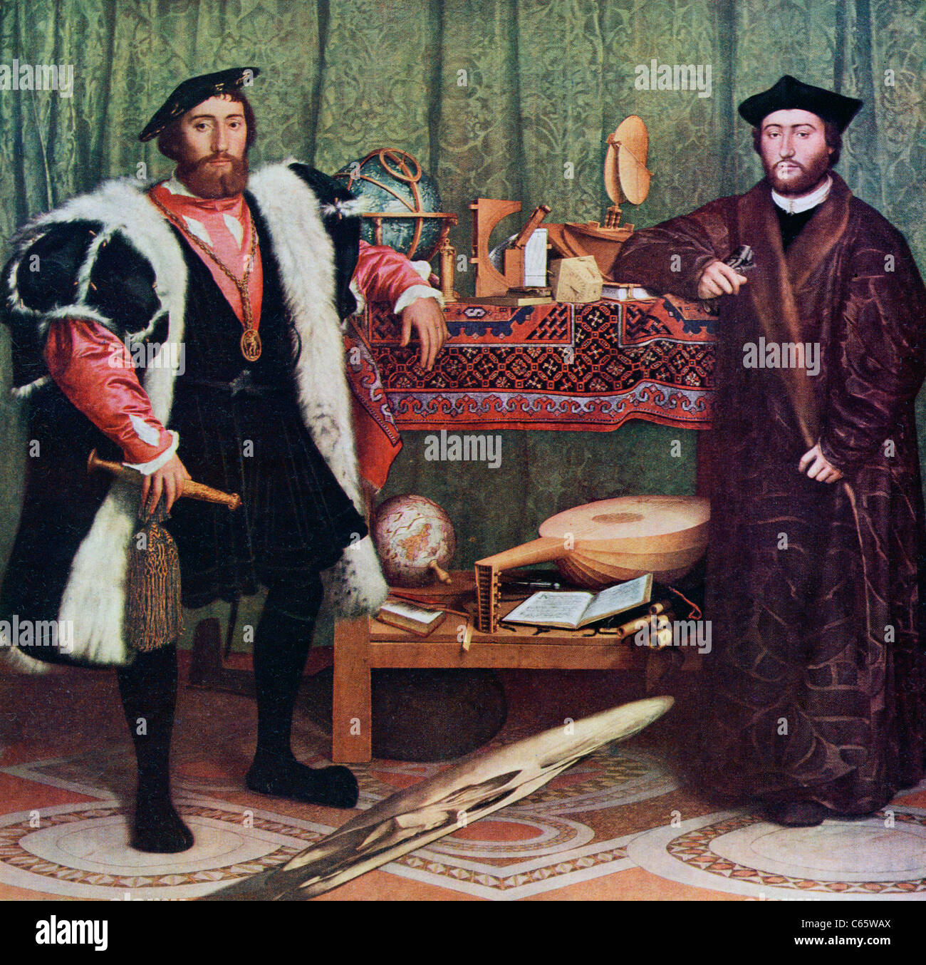 The Ambassadors by Hans Holbein the Younger. - Stock Image