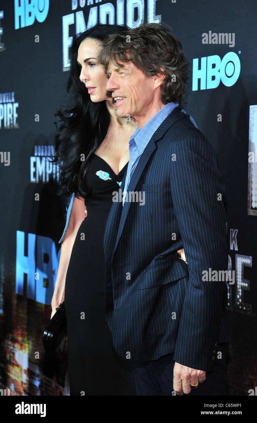 L'Wren Scott, Mick Jagger at arrivals for HBO's BOARDWALK EMPIRE Series Premiere, The Ziegfeld Theatre, - Stock Image