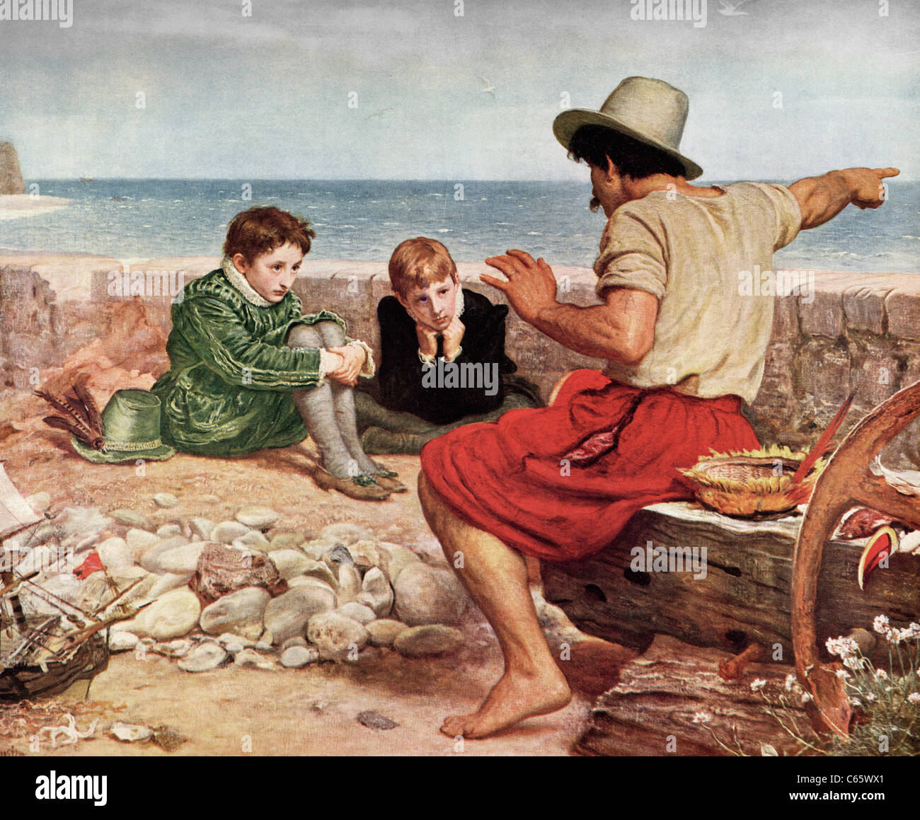 The Boyhood of Raleigh by Sir John Everett Millais. - Stock Image