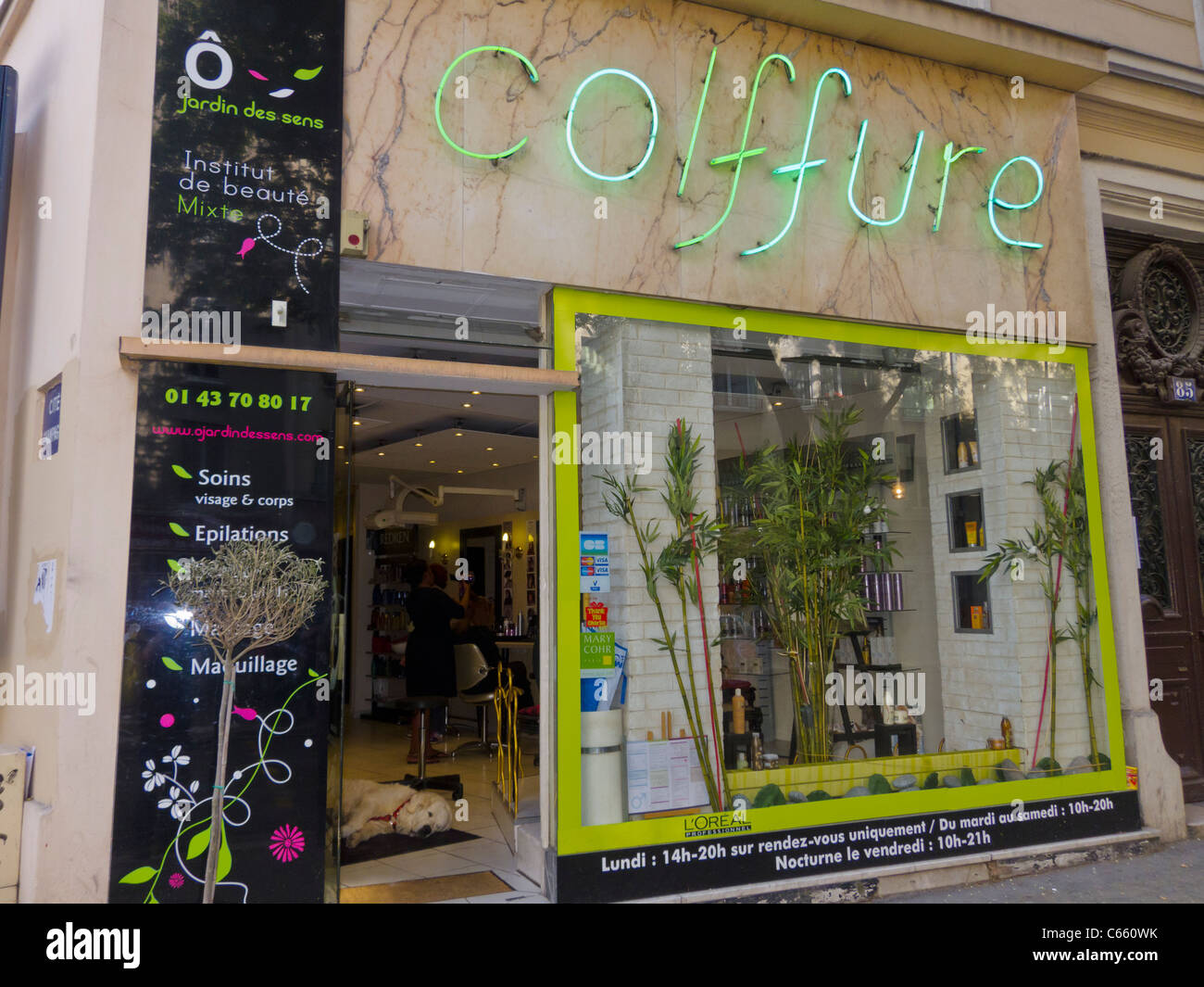 Paris, France, Glass Front Door Modern French Coiffure Beauty Salon ...