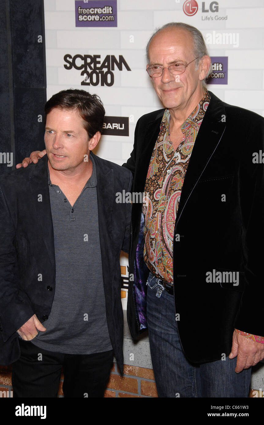 Michael J. Fox, Christopher Lloyd at arrivals for Spike TV's SCREAM 2010, Greek Theatre, Los Angeles, CA October Stock Photo