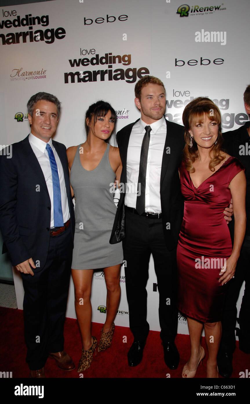 Dermot Mulroney, Jessica Szohr, Kellan Lutz, Jane Seymour at arrivals for LOVE WEDDING MARRIAGE Premiere, Pacific Stock Photo