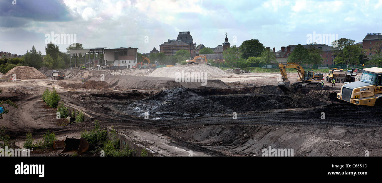 Panorama of building work on the old Greenall's distillery site in Lousher's Lane Warrington Cheshire England - Stock Image