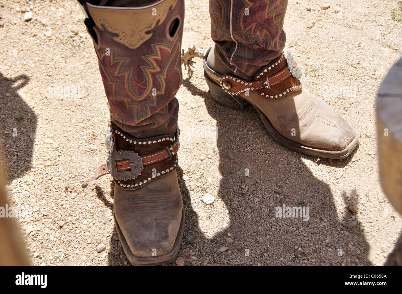 Cowboy boots with spurs - Stock Image