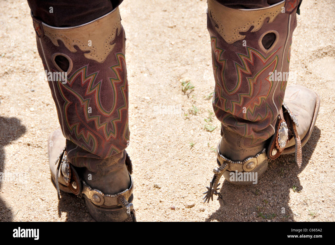 Cowboy boots with spurs (at fast draw competition during 'Pioneer Days') - Stock Image