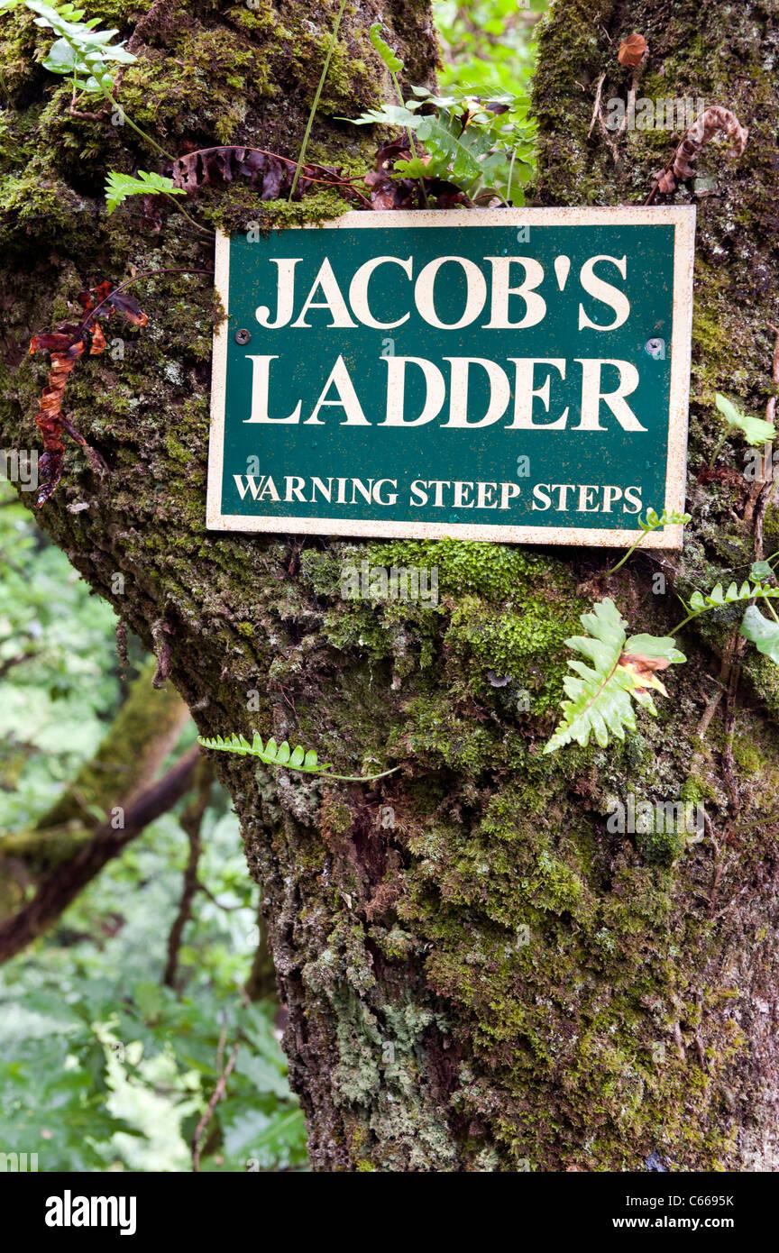 Warning sign of steep steps to Jacob's Ladder Devil's Bridge, Wales UK. - Stock Image