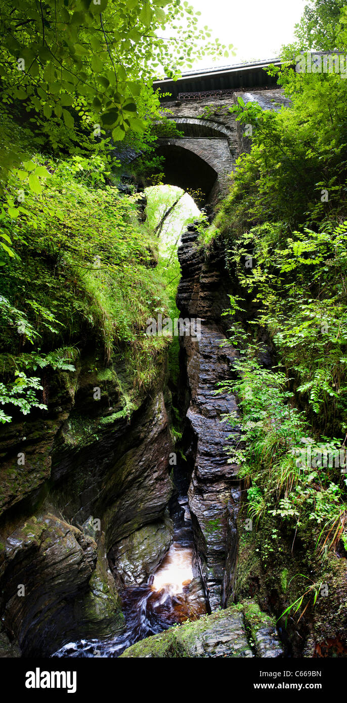 Waterfall at Devils Bridge tourist attraction West Wales - inspiration to Wordsworth for 'To the Torrent at - Stock Image