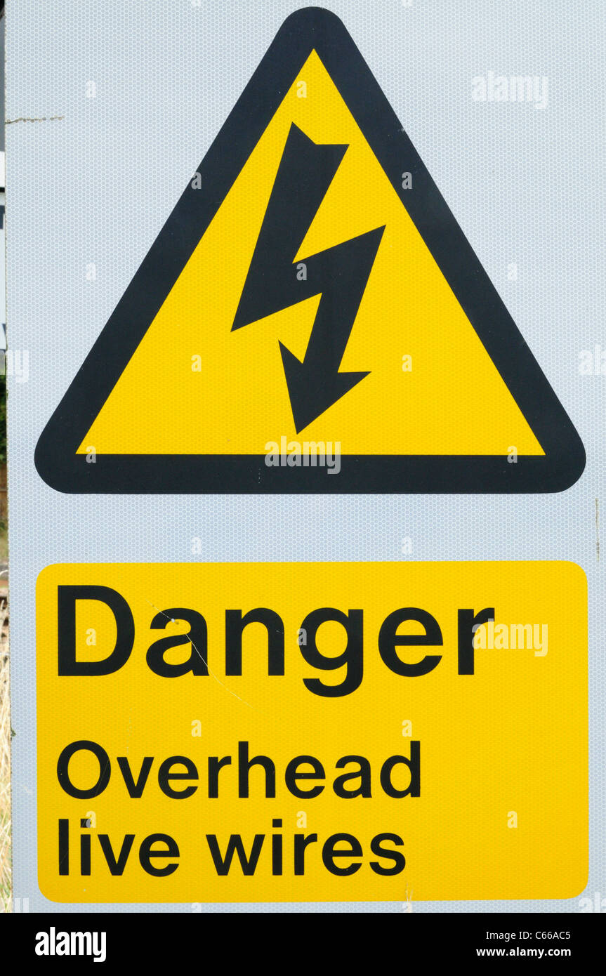 Wires Stock Photos Images Alamy Ac Wire Colors Canada Danger Overhead Live Warning Sign Beside A Railway Line Shepreth Cambridgeshire England