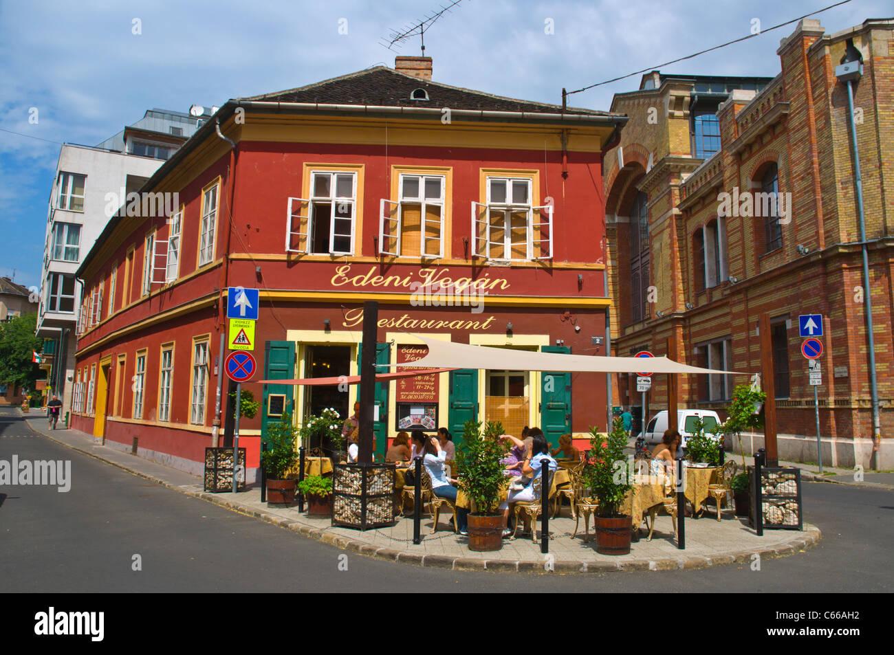 Edeni Vegan vegetarian restaurant at Batthyany ter square Buda district Budapest Hungary Europe - Stock Image