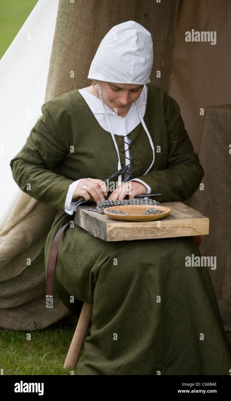 Medieval Festival Verdin Park, Northwich history Cheshire uk armour medieval armor chain mail protection metallic - Stock Image
