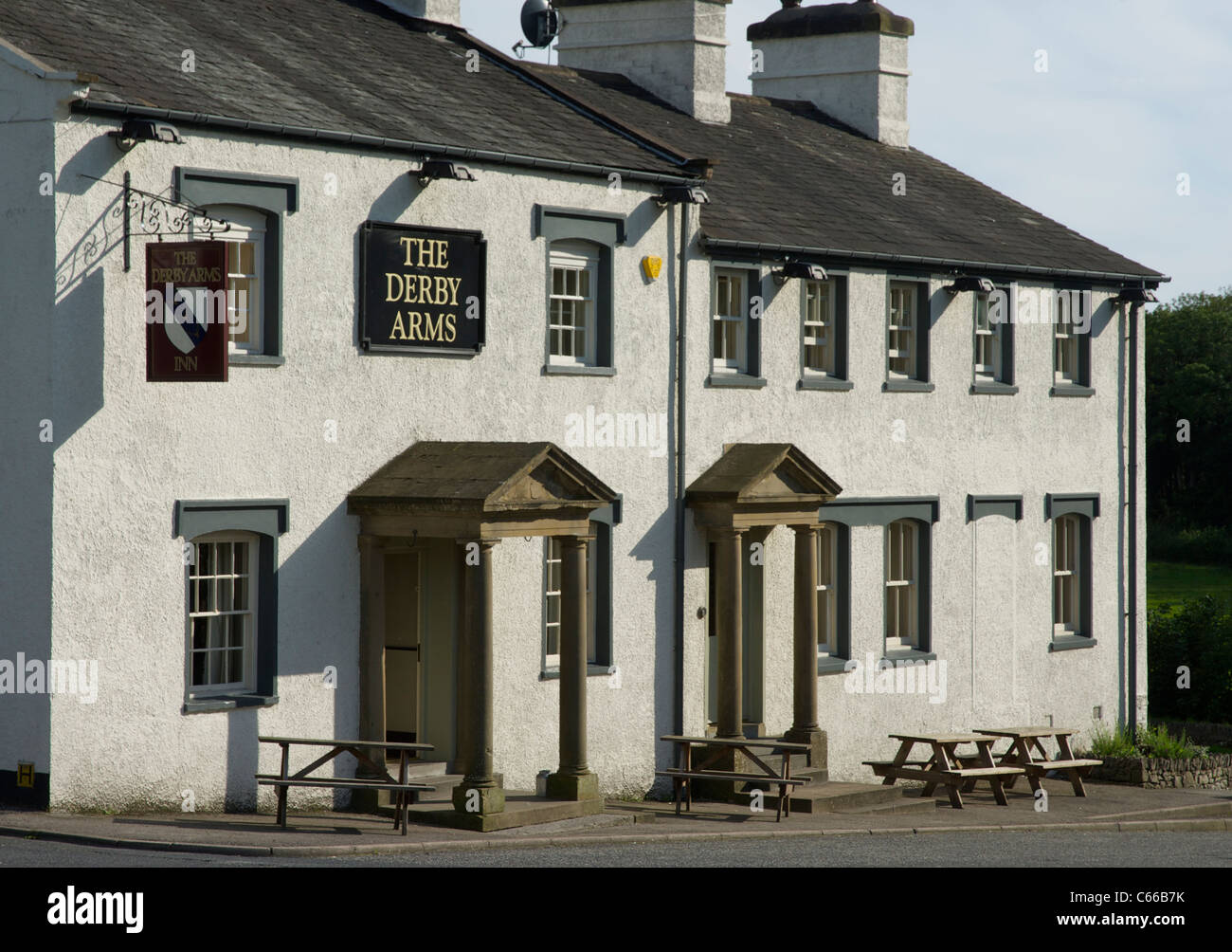 The Derby Arms in Witherslack, South Lakeland, Lake District National Park, Cumbria, England UK - Stock Image