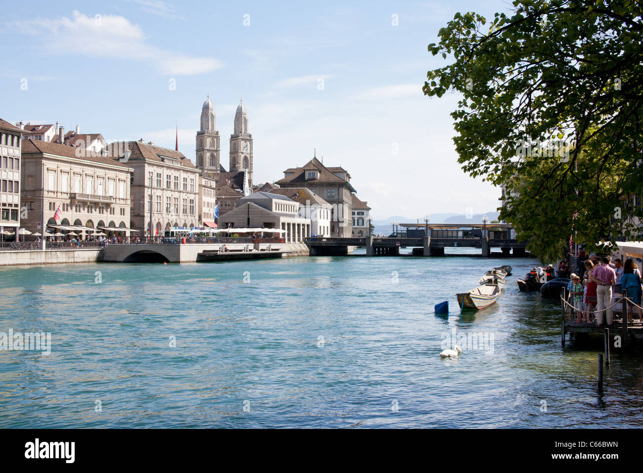 Limmat River, old town, houses, Zürich, Switzerland - Stock Image