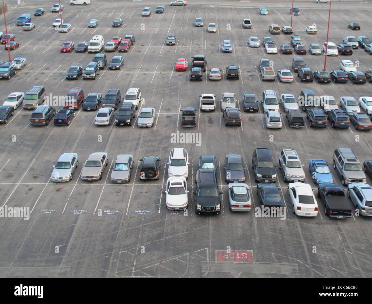 Aerial view of a long term parking lot at SFO airport, San Francisco, California, United States of America - Stock Image