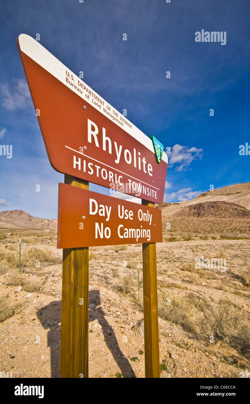 Rhyolite is a ghost town in Nye County, in the U.S. state of Nevada. It is located in the Bullfrog Hills. - Stock Image