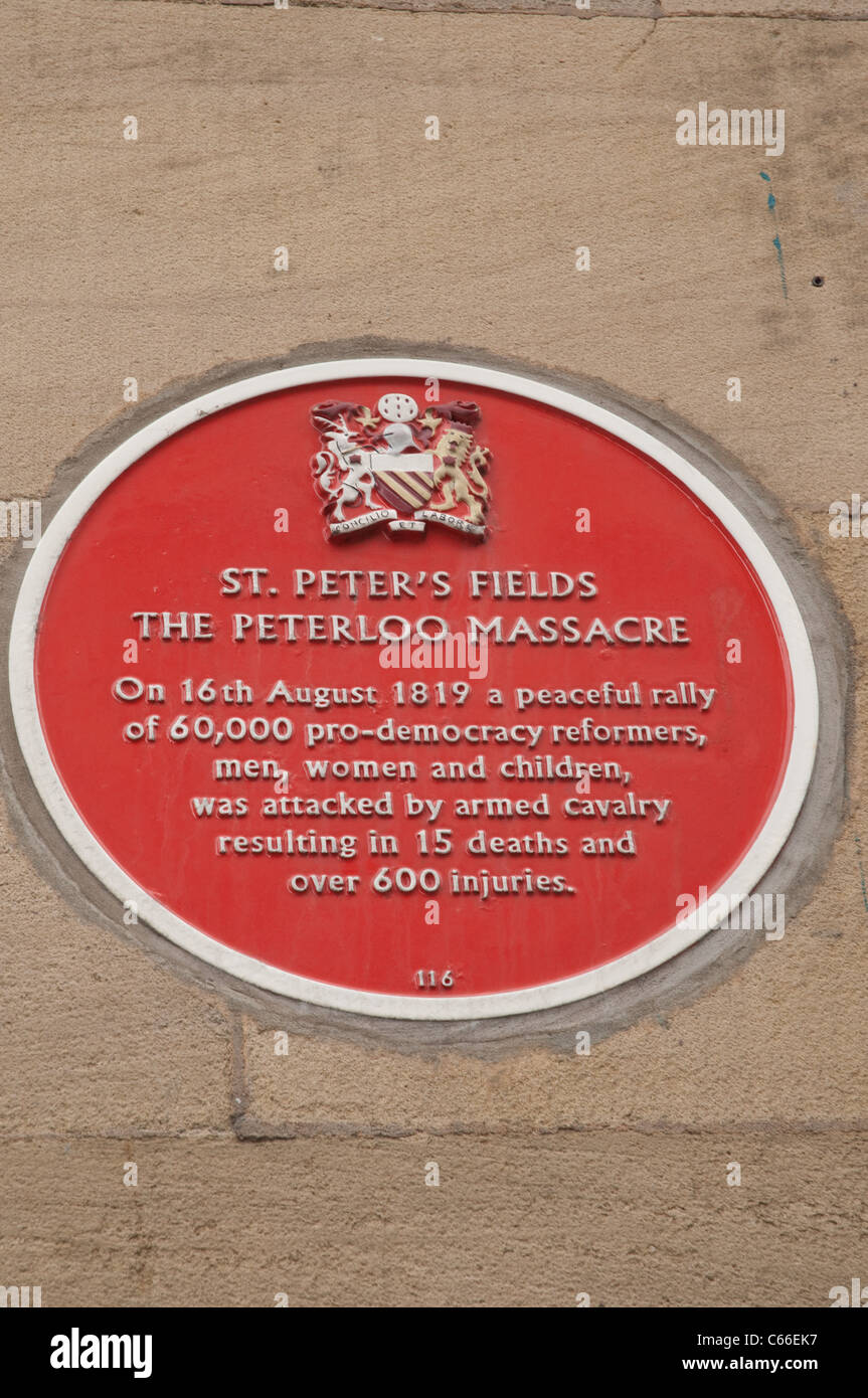 Peterloo Memorial plaque at the former Free Trade Hall, now the Radisson Edwardian Hotel, Peter St, Manchester Stock Photo