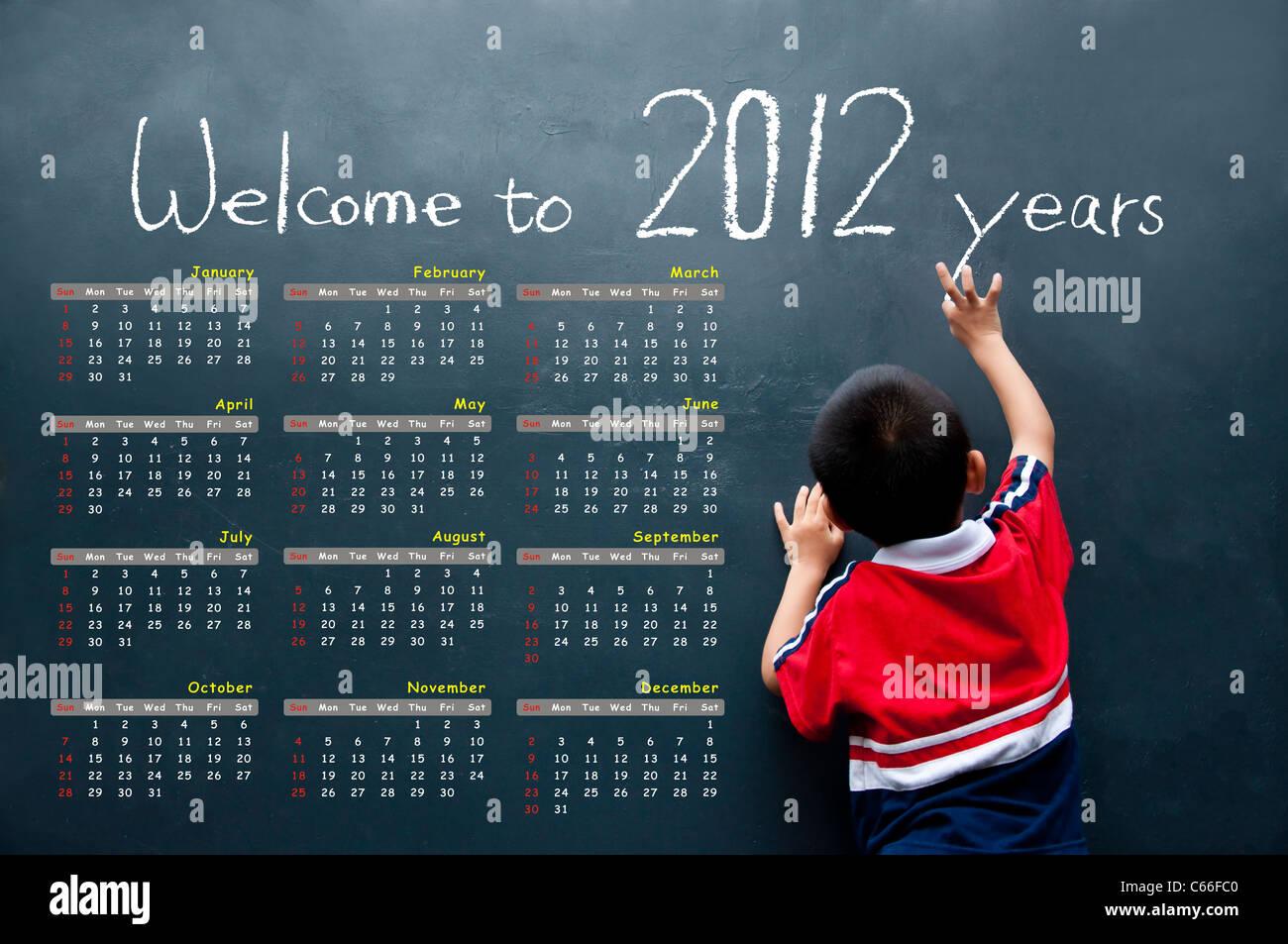 2012 calendar with a boy - Stock Image