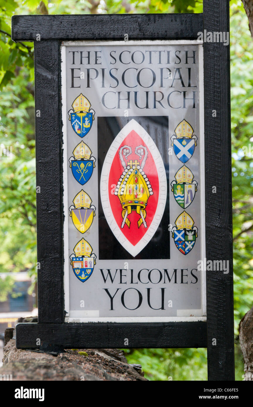 A welcome sign on the Scottish Episcopal Church of St Peter in Stornoway on the Isle of Lewis in the Outer Hebrides, - Stock Image