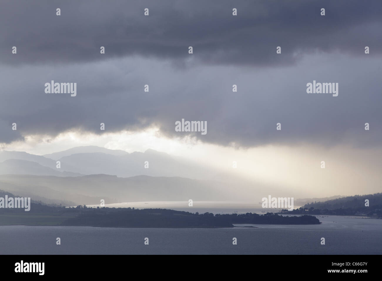 Bad weather breaking over the Rosneath Peninsula and the Gare Loch, Scotland, UK - Stock Image