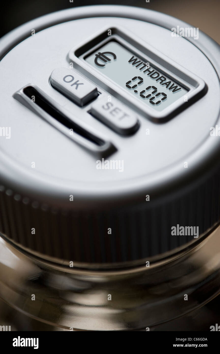 Empty Digital Money Counting Pot with a reading in Euros € - Stock Image