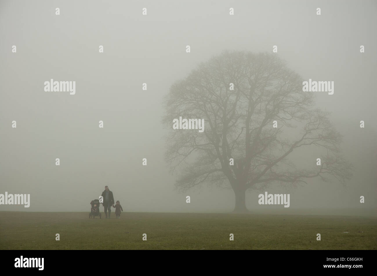Father walking with his children in fog - Stock Image