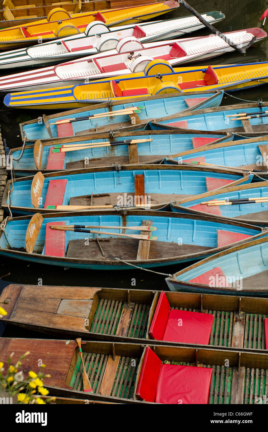 Punts, Rowing Boats and pedal boats for hire outside Magdalen Bridge Boathouse on River Cherwell, Oxford Stock Photo
