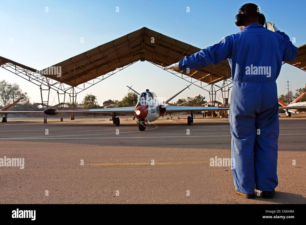Israeli Air force (IAF) Fouga Magister CM-170 at takeoff - Stock Image
