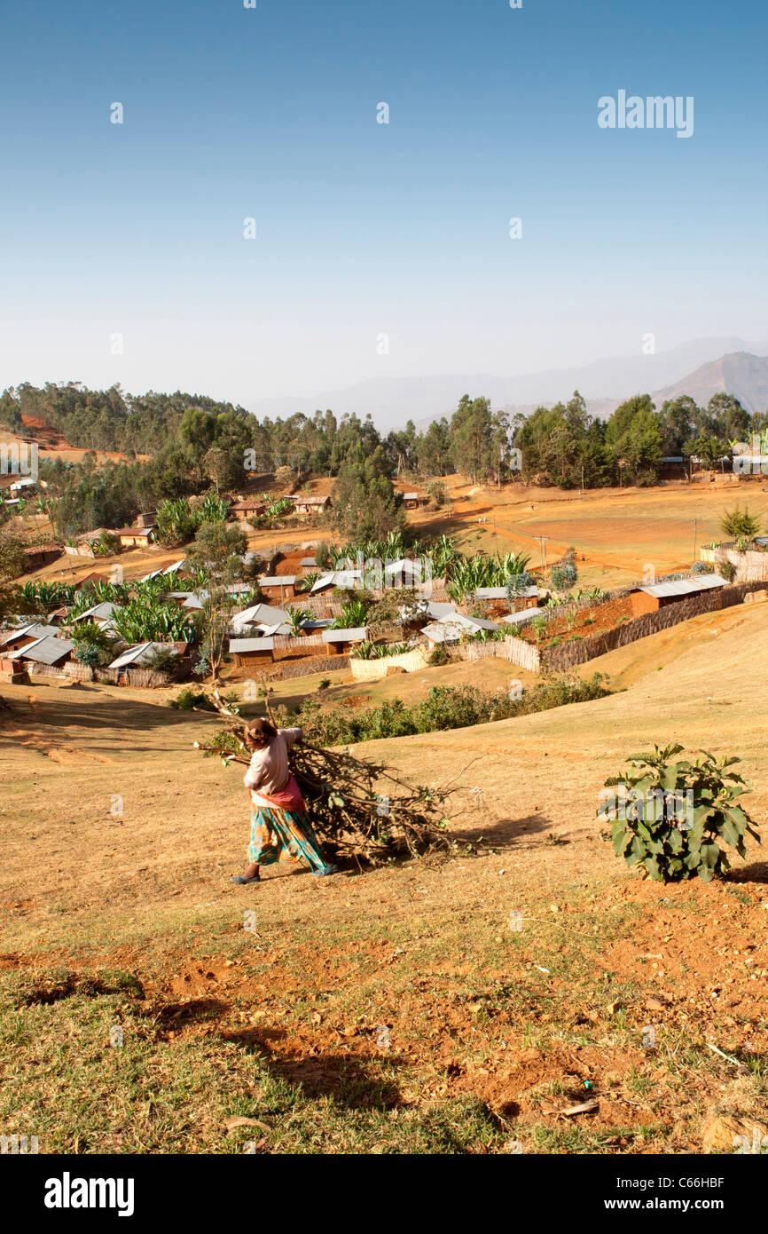 Scenery around Chencha near  Arba Minch in the Omo Valley, Southern Ethiopia, Africa. Stock Photo