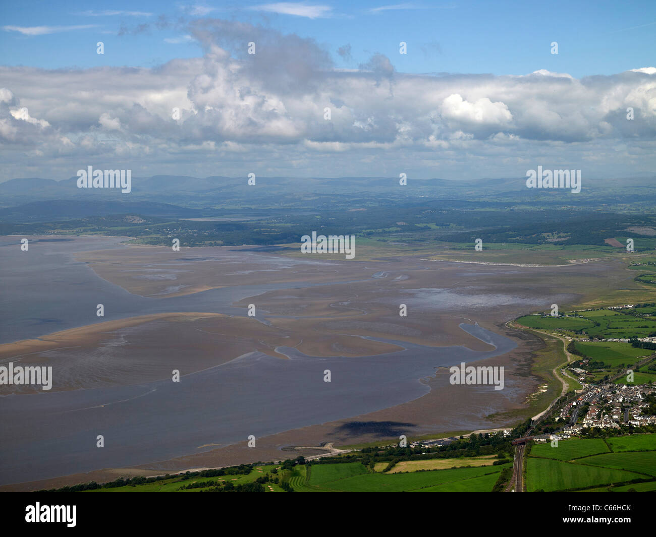 Morcambe Bay, North West England, from the air looking north to Grange over Sands - Stock Image
