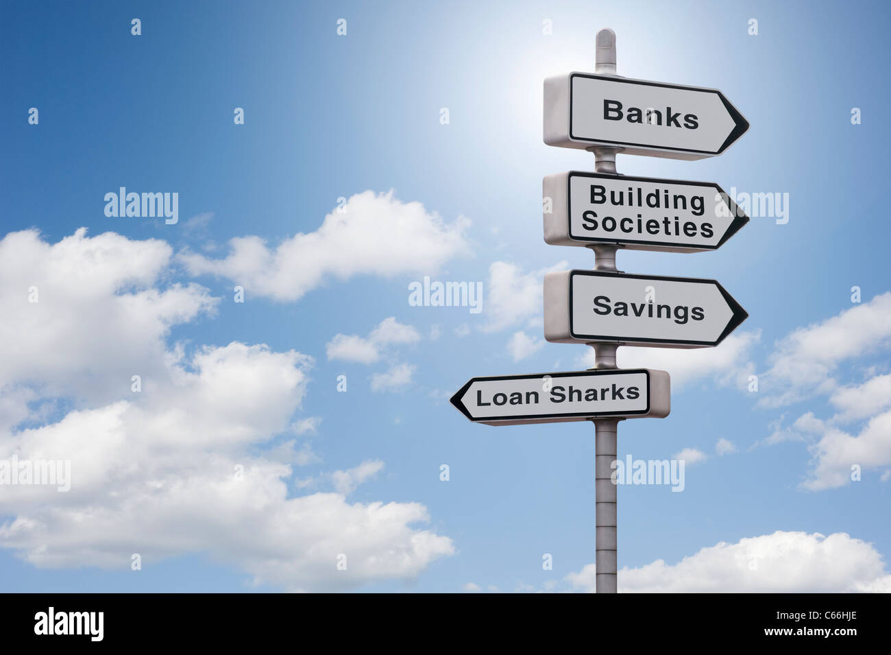 Sign with Banks, Building Societies, Savings pointing in one direction and Loan Sharks pointing in the other on - Stock Image