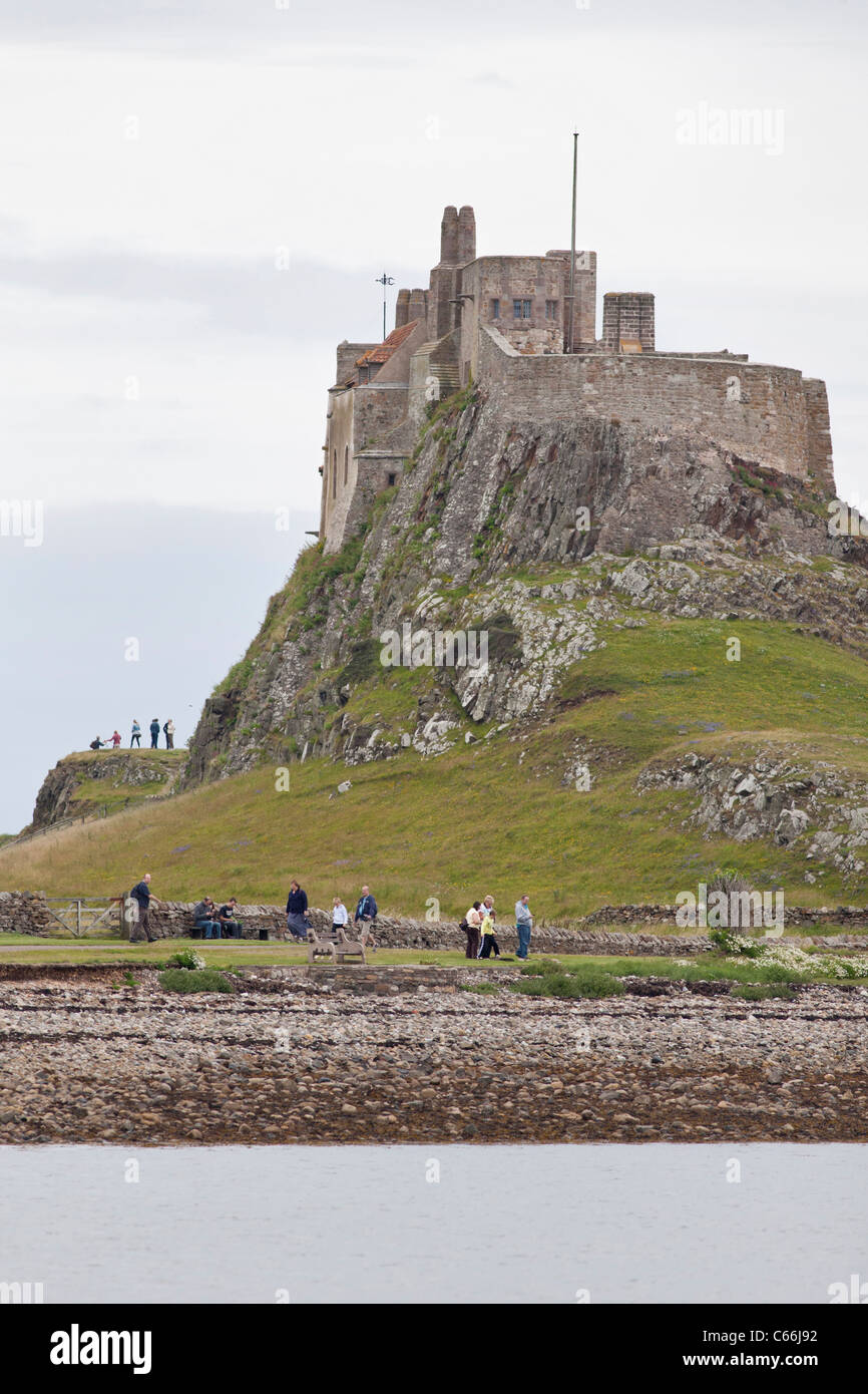 Castle on The Holy Island of Lindisfarne in Northumbria, England Stock Photo