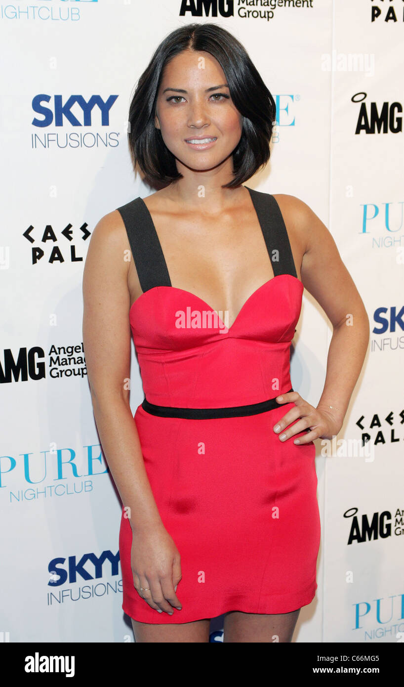 Olivia Munn Wearing A Jay Godfrey Dress At Arrivals For Launch Of Skyy Infusions Dragon Fruit Vodka At Pure Pure Nightclub At Caesars Palace Las Vegas