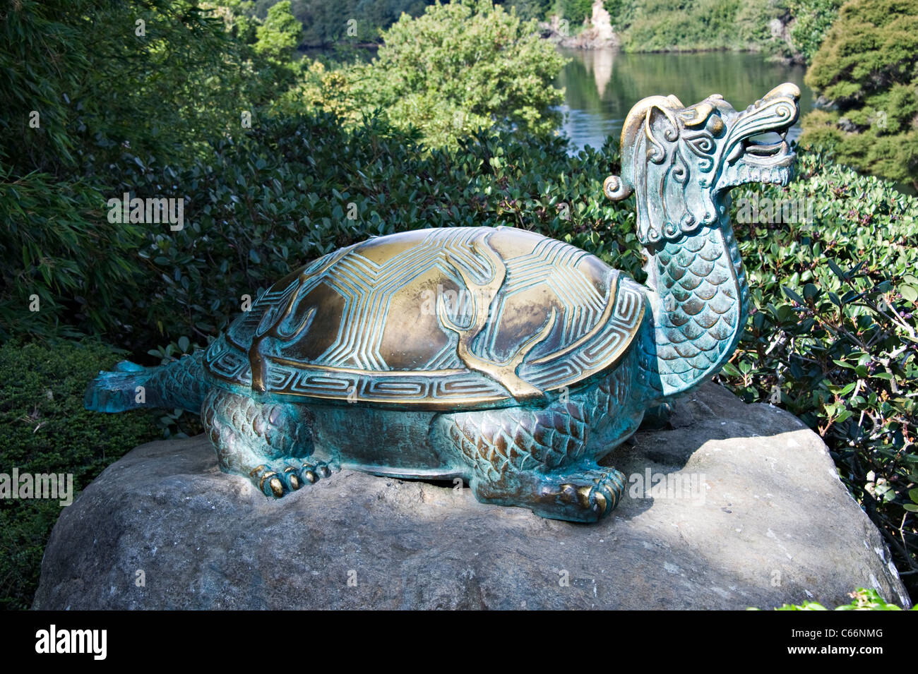 Bronze Sculpture Celestial Yuan of Taihu in China Garden Hamilton Gardens Waikato North Island New Zealand - Stock Image