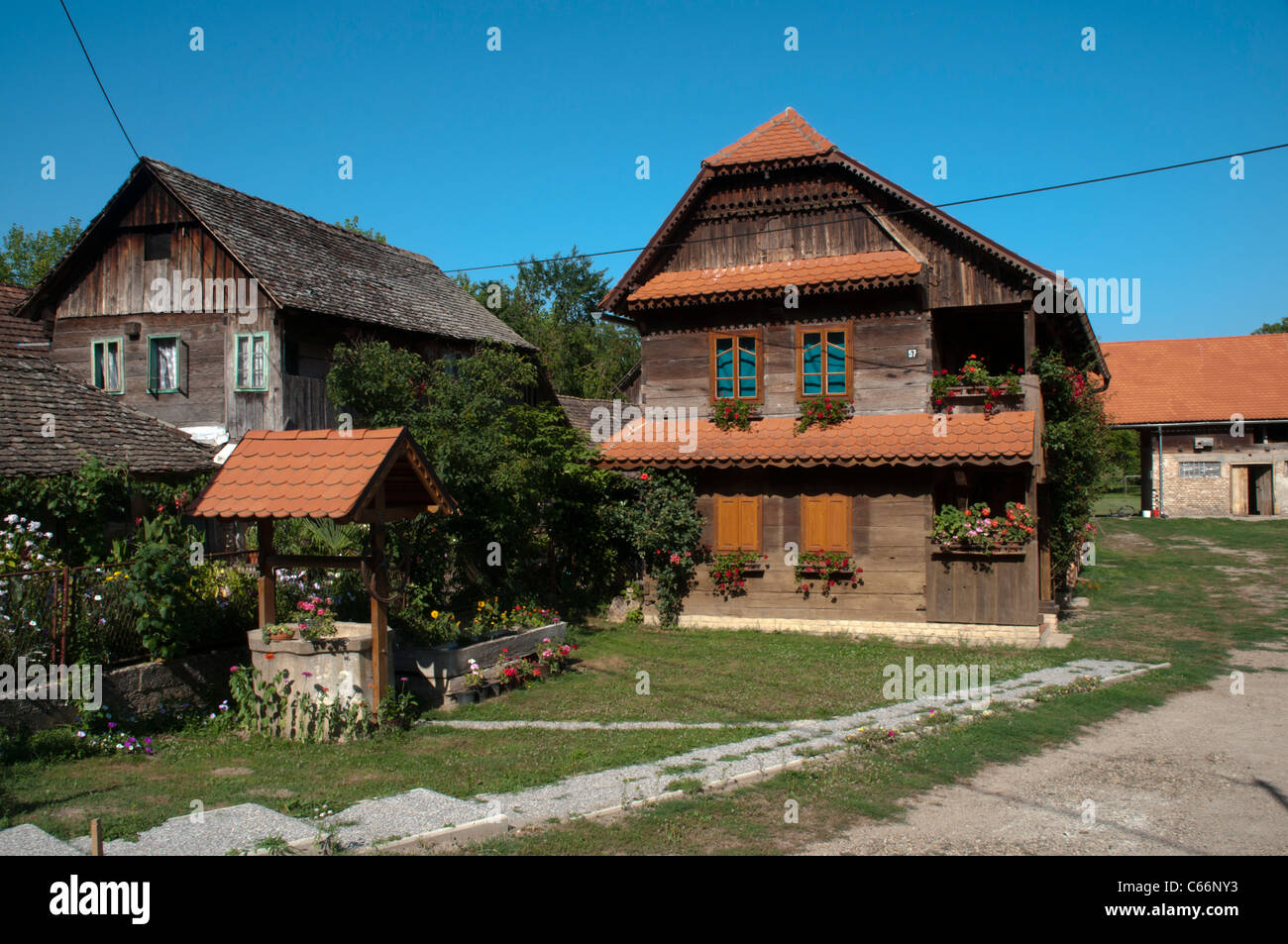 Refurbished wooden house in Cigoc in Lonjsko Polje nature park in Croatia offer now Bed and Breakfast.  Renoviertes - Stock Image
