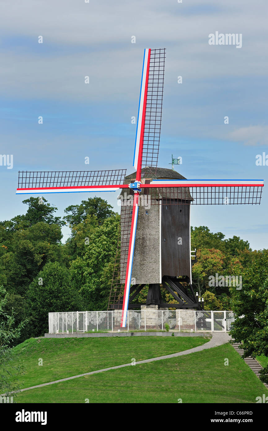 The wooden windmill Sint-Janshuismolen in Bruges, Belgium - Stock Image