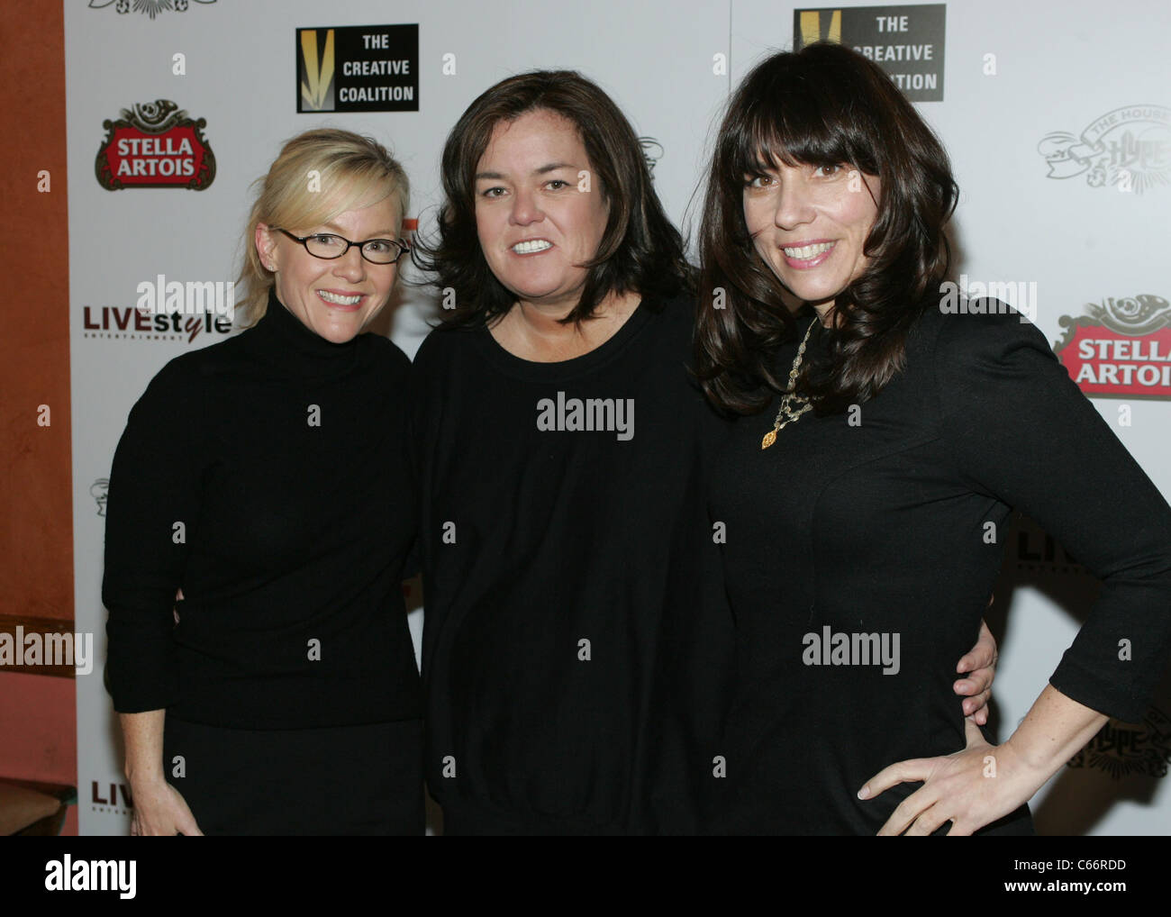 Rachael Harris, Rosie O'Donnell, Robin Bronk (CEO, Creative Coalition) at arrivals for The Creative Coalition's - Stock Image