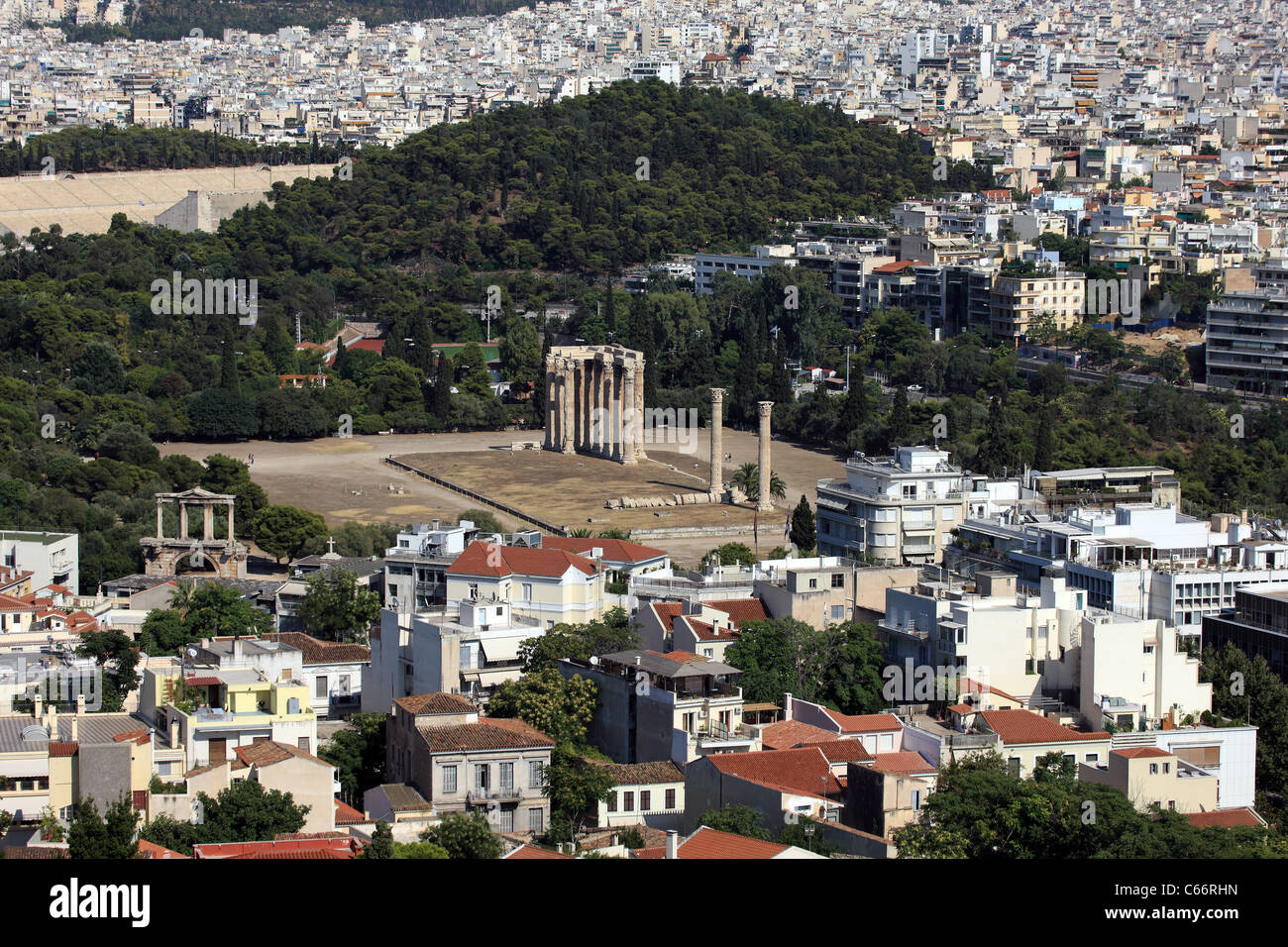 Athens Temple of Olympian Zeus in Greece - Stock Image