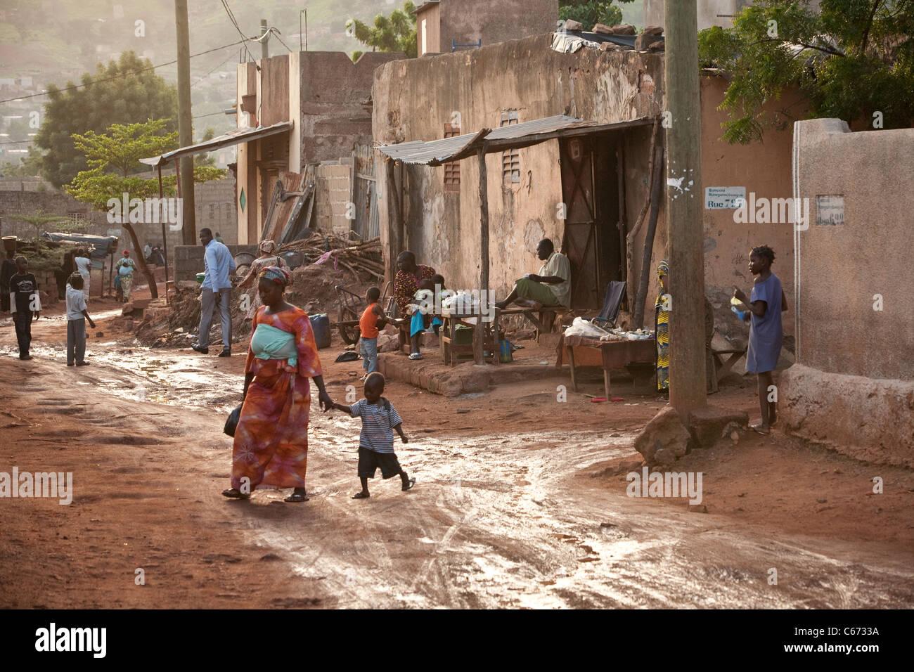 Kadija Bagayoko and her family live in Banconi, a crowded suburb of Bamako. PSI Mali. August - September, 2010. - Stock Image