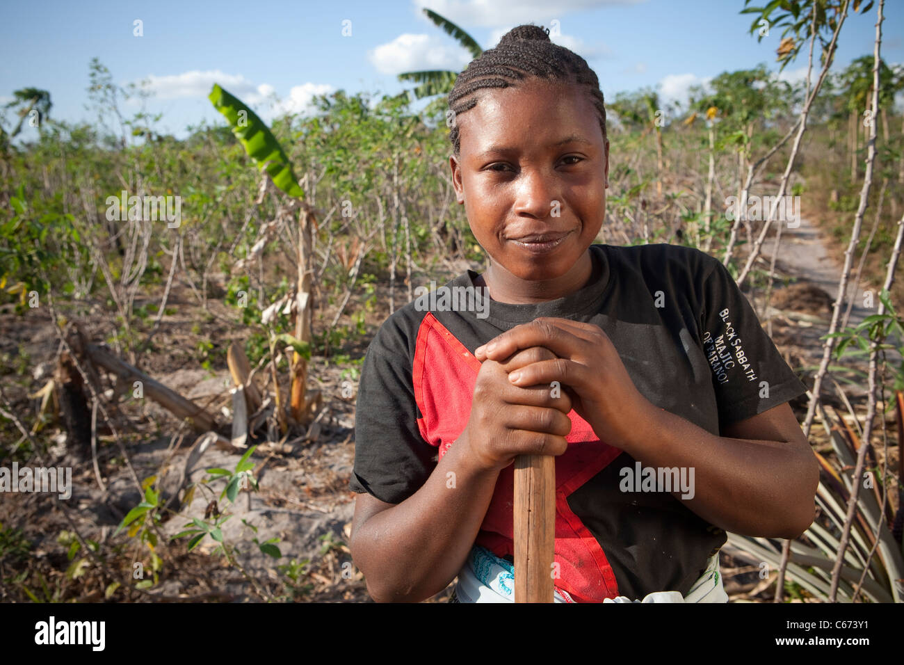 Zam Zam Juma (20) is a young victim of land-grabbing living in Tanzania, East Africa. Stock Photo