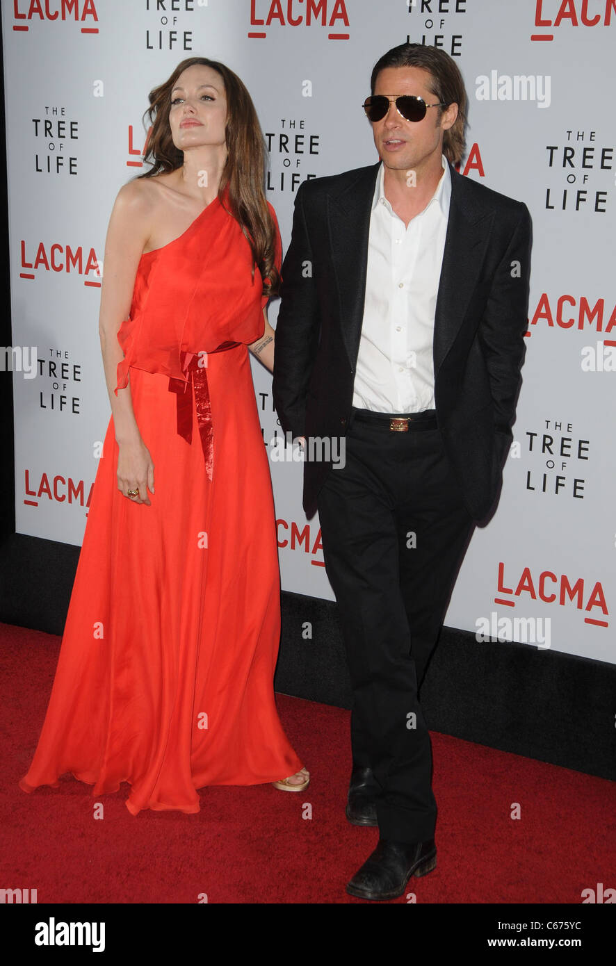 Angelina Jolie (wearing a Jenny Packham gown), Brad Pitt at arrivals ...