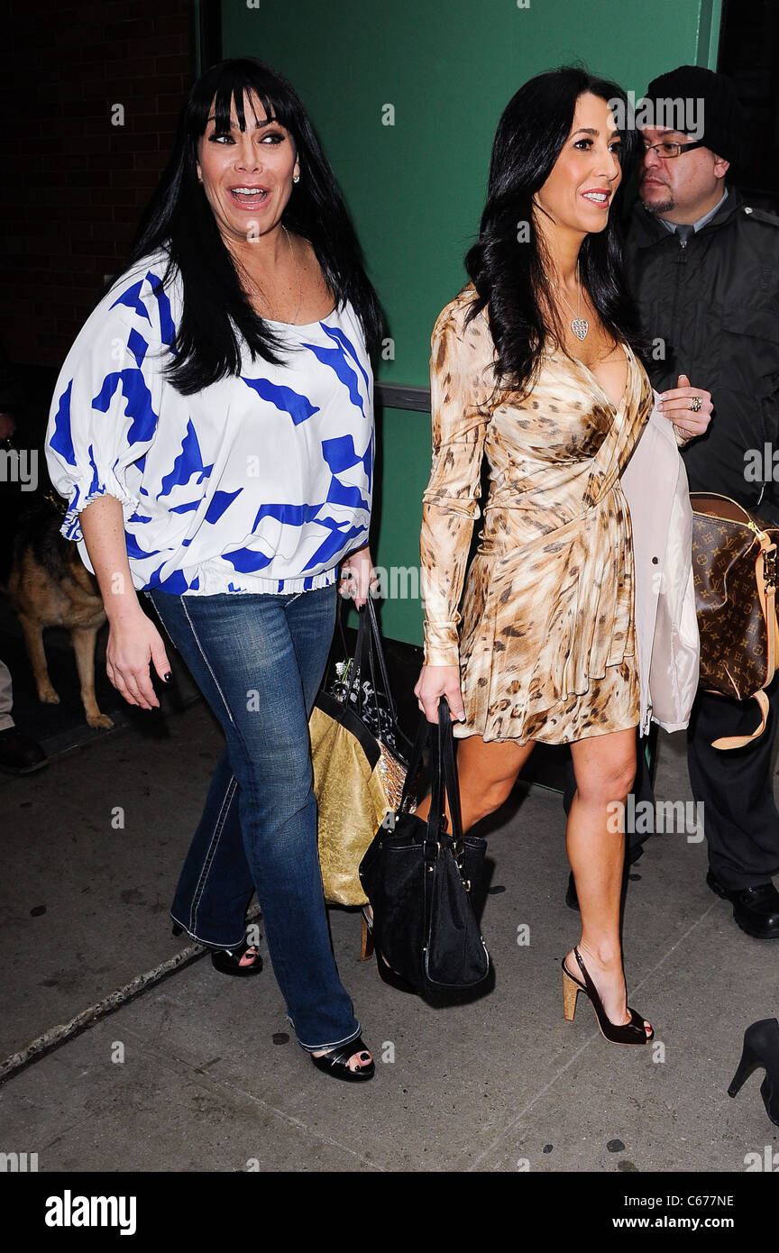 Mob Wives cast members Renee Graziano, Carla Facciolo, leave the 'Good Morning America' taping at the ABC - Stock Image