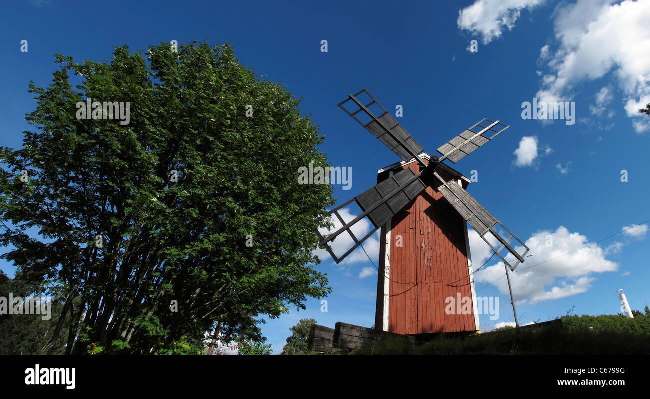Scandinavia Finland Windmill Säkylä at Pyhäjärvi lake - Stock Image