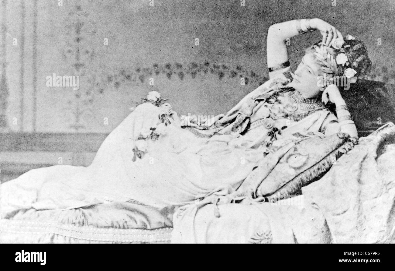 Charlotte Wolter, Austrian actress, in costume as Messalina, lounging on a Chaise longue.Stock Photo