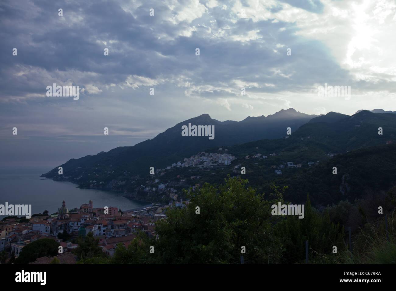Italy, Amalfitana Coast, sunset on Vietri Sul Mare area Stock Photo