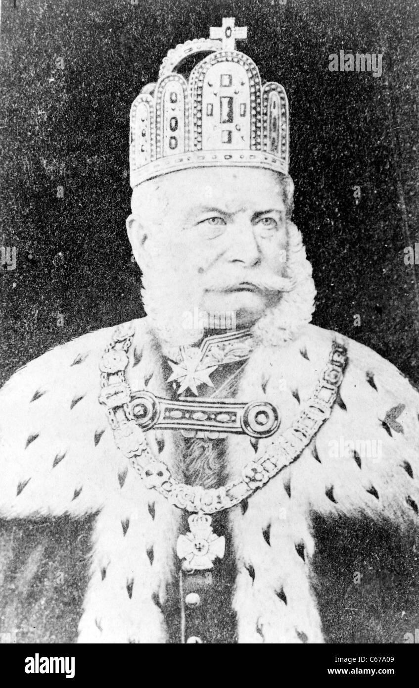 Wilhelm I, Emperor of Germany, in regalia. Circa 1880. - Stock Image
