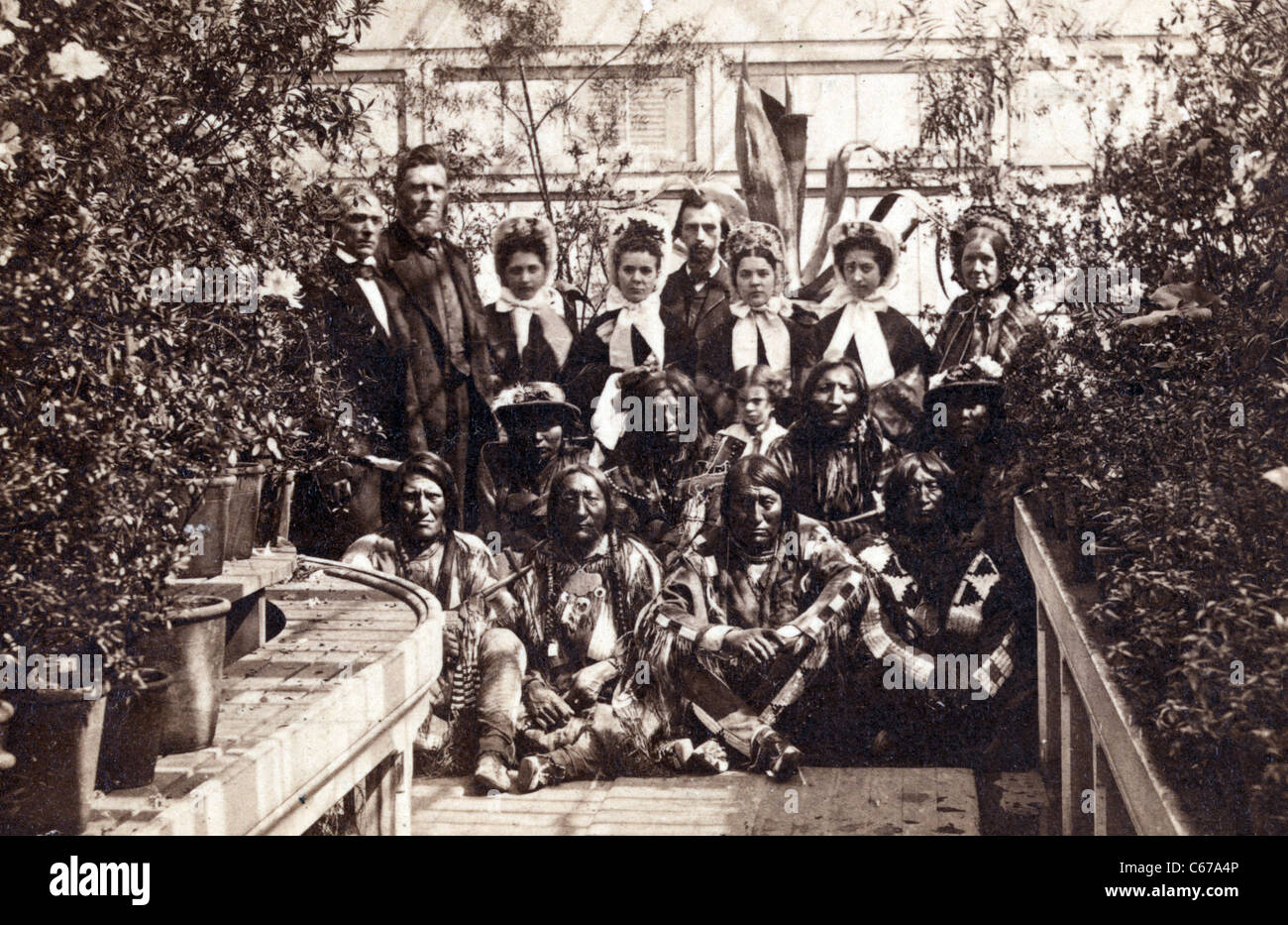 Indian delegation in the White House Conservatory during the Civil War - Stock Image