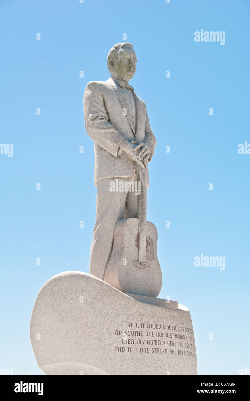Jim Reeves Memorial Park, statue of famous country western singer who was killed in a plane crash in 1964,  Carthage, - Stock Image