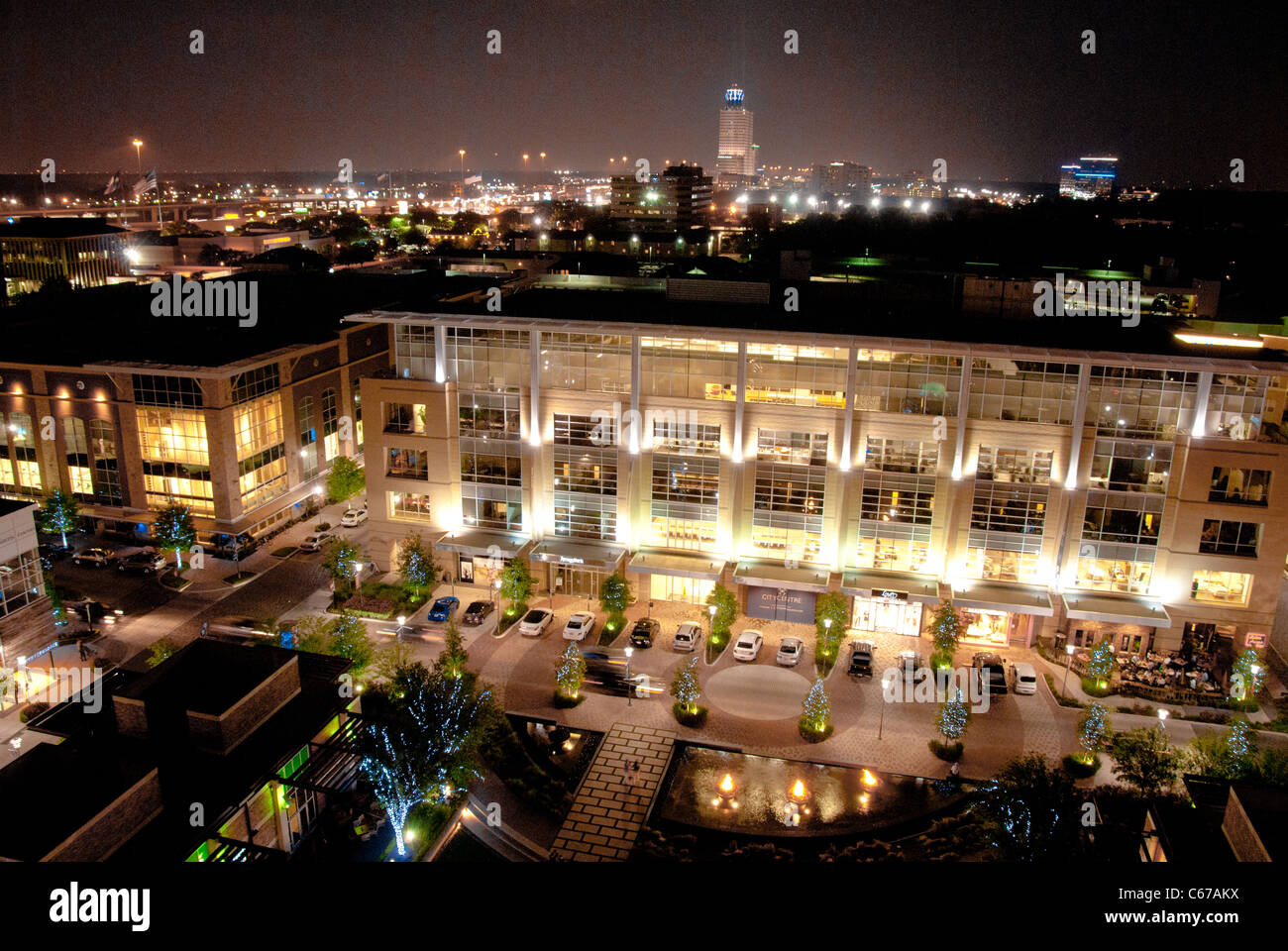 City Centre, a new upscale dining, retail, residential and hotel development in west  Houston, Texas, USA - Stock Image
