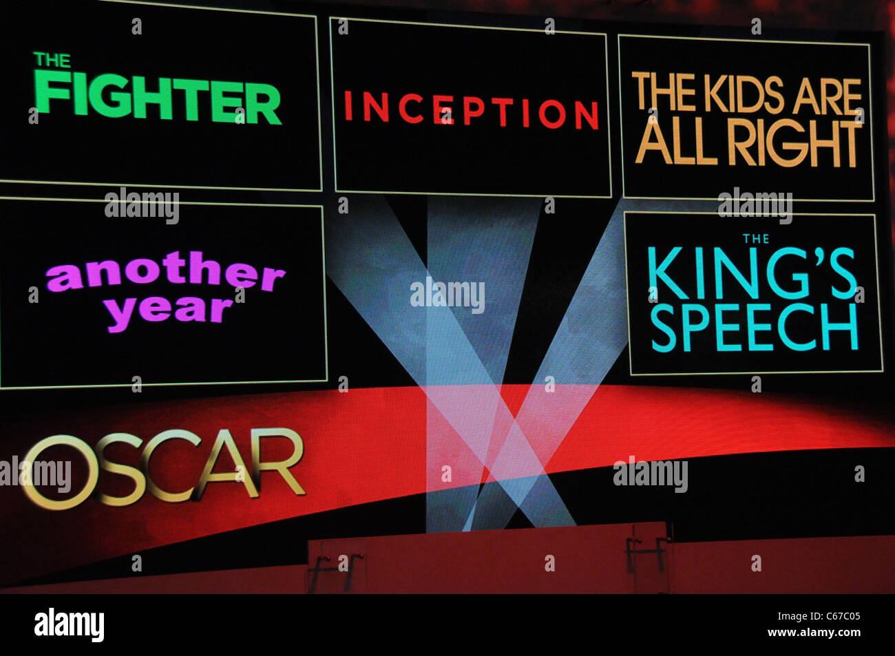 Display of Best Screenplay nominees at the press conference for The 83rd Academy Awards Oscars Nominations Announcement, - Stock Image
