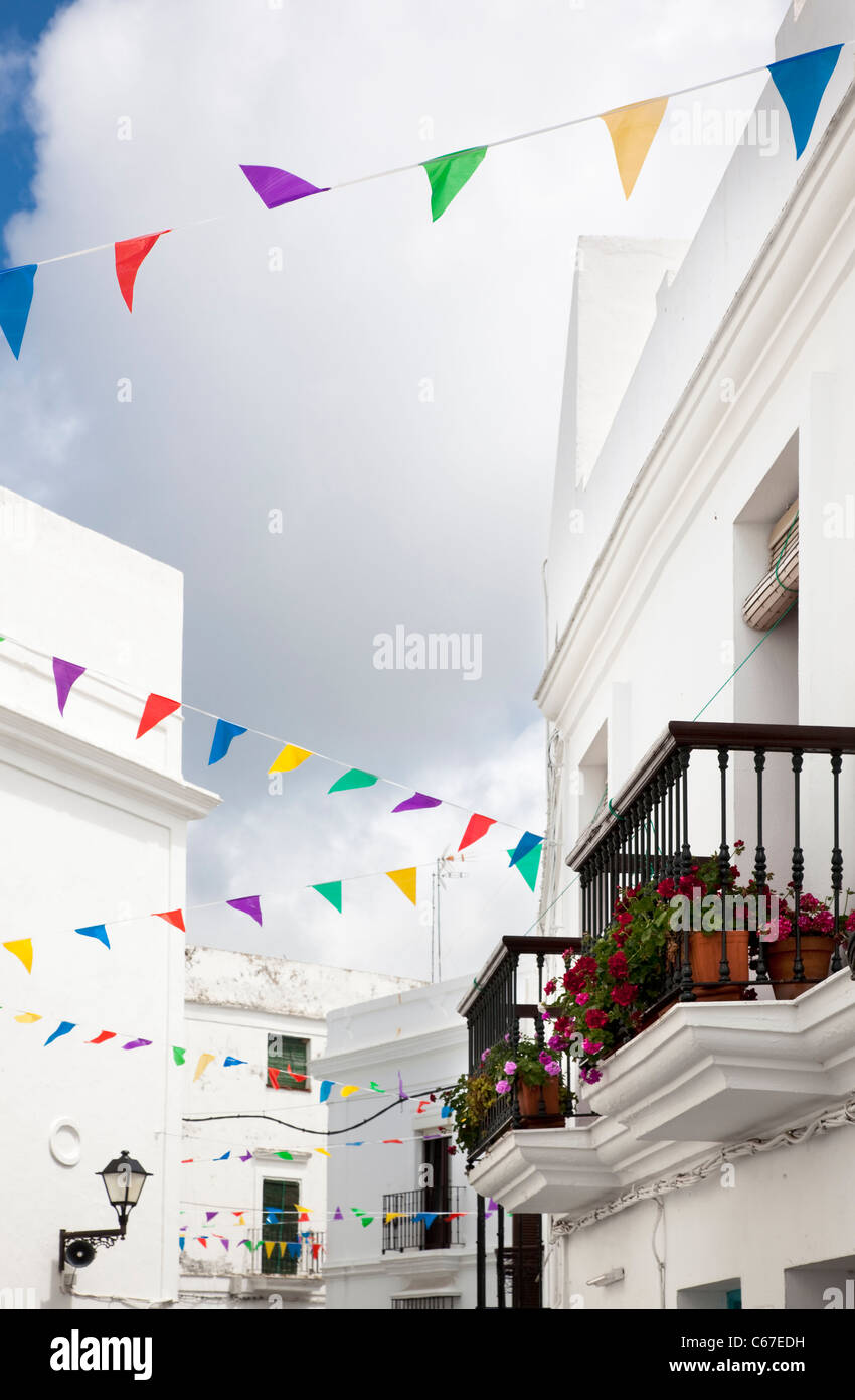Streets in a white village of Andalucia, southern Spain - Stock Image