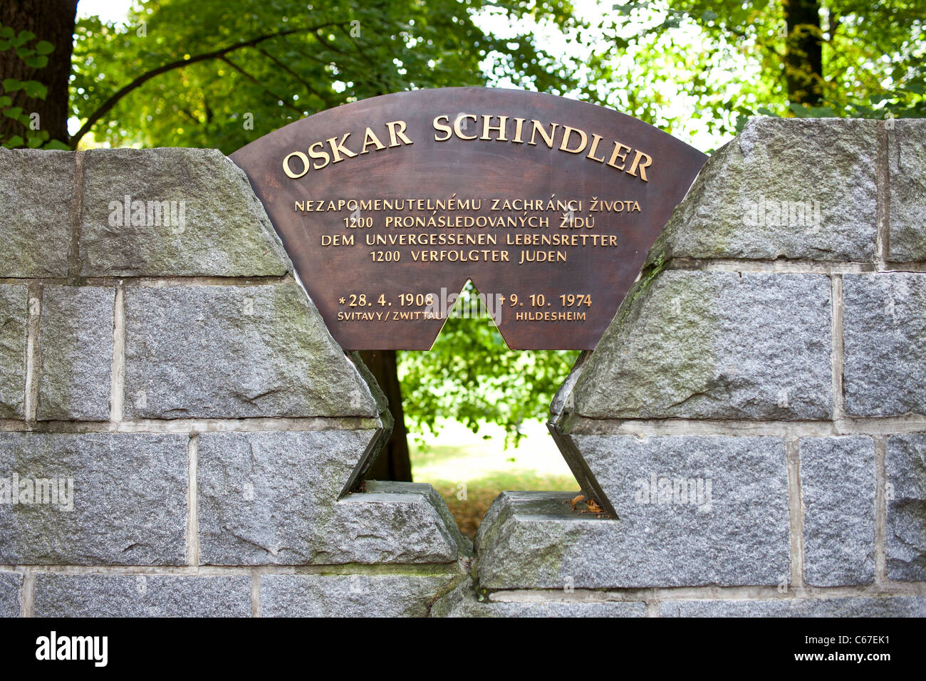 Detail of monument to Oskar Schindler over the road vis-a-vis of his birthplace in his native town. - Stock Image